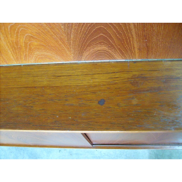 7 Ft. Mid-Century Danish Modern Teak Credenza Dry Bar Hutch For Sale - Image 9 of 12