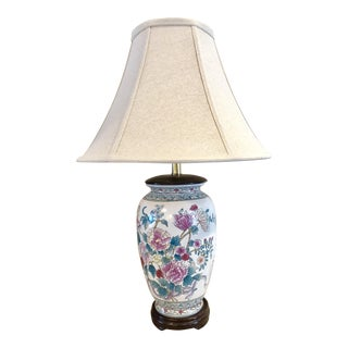 Vintage Chinoiserie Porcelain Floral Motif Lamp With Shade For Sale