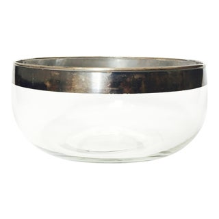 Mid Century Silver Rimmed Large Glass Serving Bowl