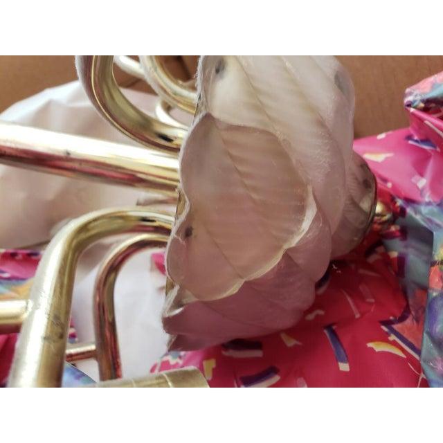 Brass Murano Glass & Brass Italian Leaf Chandelier For Sale - Image 8 of 8