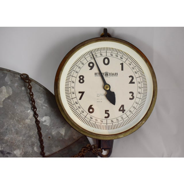 Vintage Detecto Hanging Mercantile Scale with Steel Scoop For Sale In Philadelphia - Image 6 of 11