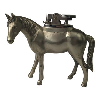 Vintage Pewter Equestrian Horse Table Lighter For Sale