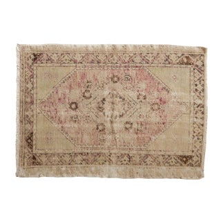 "Vintage Distressed Oushak Rug -2'9"" X 3'11"" For Sale"
