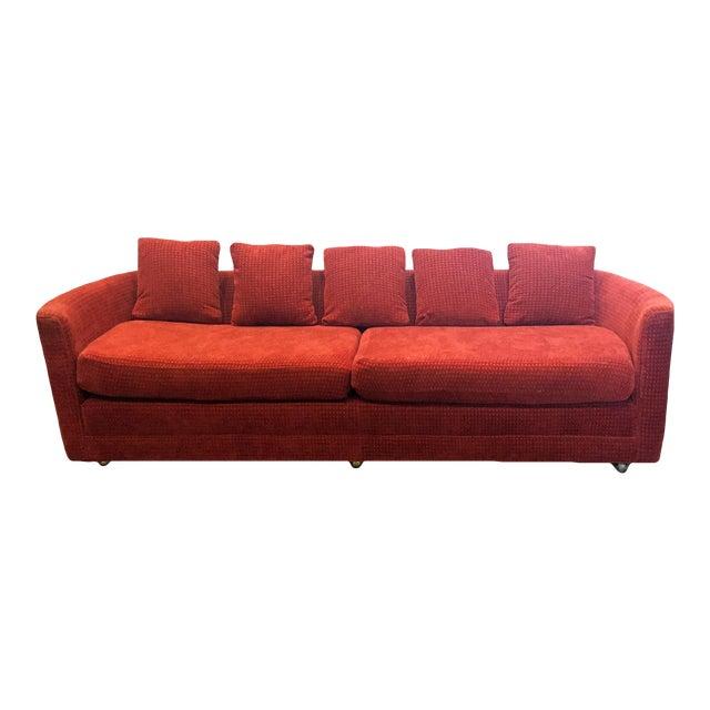 Custom Mid-Century Sofa in Rust Colored Chenille - Image 1 of 5