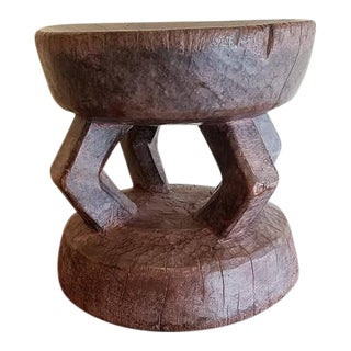 1950s Vintage Tribal Senufo African Stool Hardwood For Sale