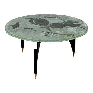Italian Glass Musical Instrument Coffee Table For Sale