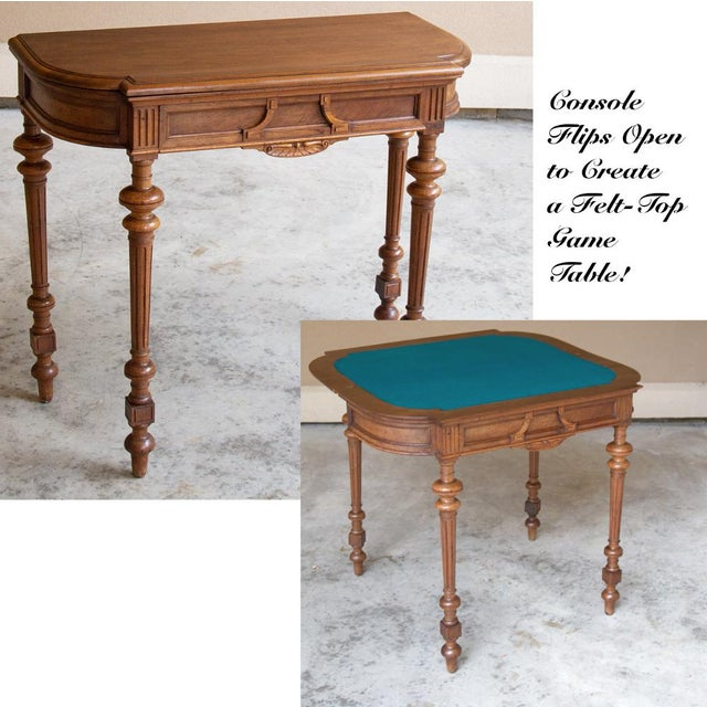 19th Century French Henri II Walnut Game Table ~ Console For Sale - Image 13 of 13