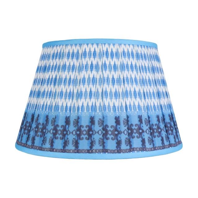 """Textile Pleated Printed Shade with Border 16"""" Turquoise and Navy For Sale - Image 7 of 7"""