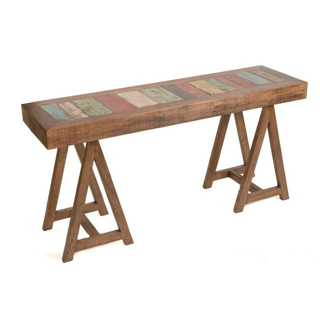Reclaimed Peroba Wood Handmade Eco-Friendly Console Table For Sale - Image 4 of 4