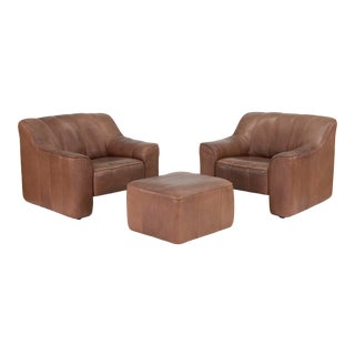Vintage De Sede Ds44 Lounge Chairs and Ottoman Set For Sale