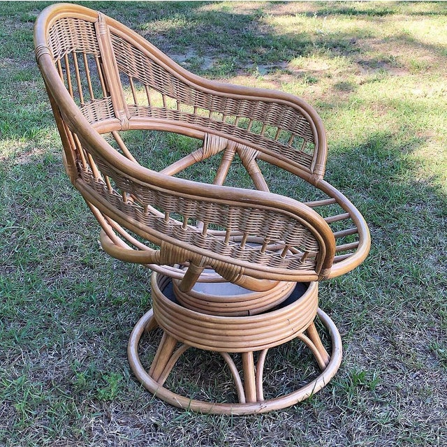 1970s Vintage Rattan Swivel Egg Chair For Sale - Image 4 of 6
