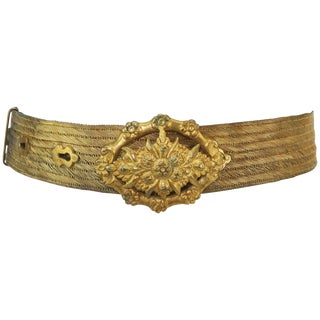 Antique C.1900 Turkish Gilt Silver Trabzon Wire Mesh Belt For Sale