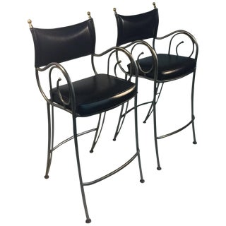 Jansen Style Brushed Steel and Brass Bar Stools - a Pair For Sale