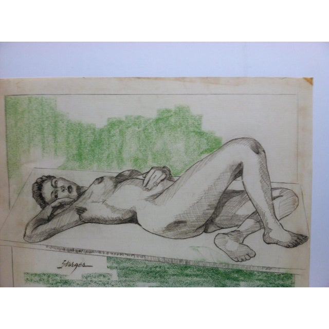 """This is an original drawing/sketch on paper that is titled """"Sexy Woman - Laying Nude"""" by Tom Sturges Jr. and is dated..."""