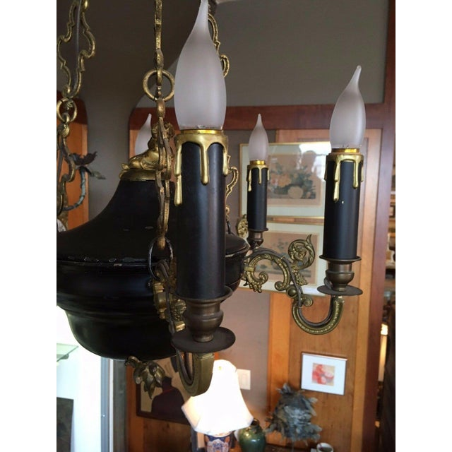 Neoclassical 1810 Empire Regency Neoclassical 6 Light Converted Chandelier For Sale - Image 3 of 13