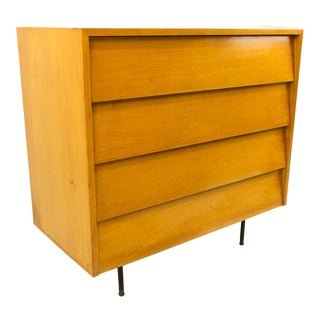 Mid-Century Modern Florence Knoll Maple Chest Dresser With Metal Legs