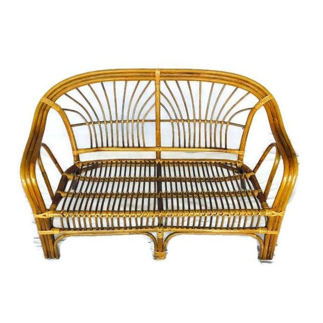 Vintage Albini Style Bamboo Settee - Image 2 of 4