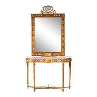 Bronze Mounted Marble-Top Console Table and Mirror For Sale