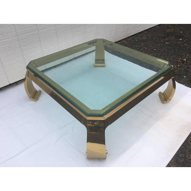 Asian 1970's Asian Inspired Brass & Glass Coffee Table by Mastercraft For Sale - Image 3 of 12