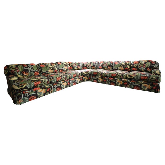 Drexel Heritage Tropical Print Sectional Sofa - Image 1 of 7
