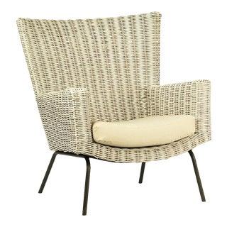 White Rattan Arm Chair w/Cushion For Sale