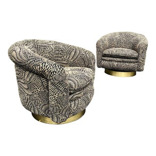 Milo Baughman for Thayer Coggin Swivel Chairs - a Pair