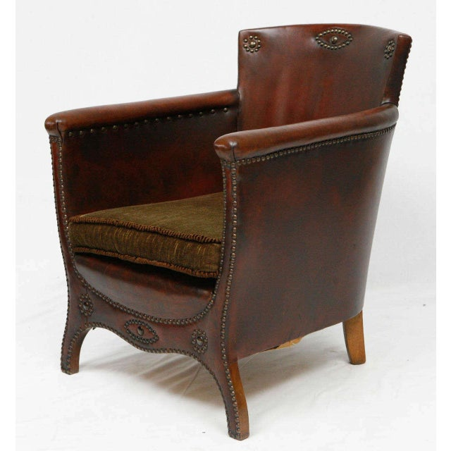 Otto Schulz lounge chair with original leather designed in the 1930's and produced by Boet in Gothenburg. Store formerly...