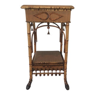 Vintage Bamboo Work Table For Sale