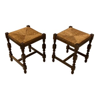 Pair of French Rush Seat Stools For Sale