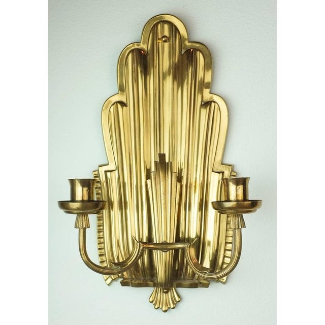Swedish Grace Brass Sconces - A Pair - Image 2 of 6