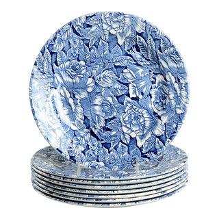 Churchill Bermuda Blue Dinner Plate - Set of 8 For Sale