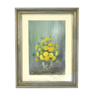 "1960's Vintage French Barbizon Impressionist ""Floral Still Life"" Painting by Sabaya For Sale"