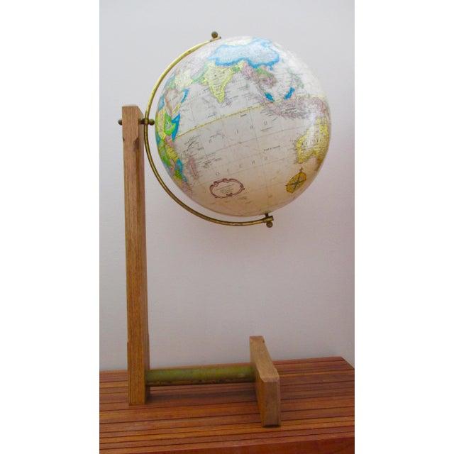 Spectacular Unusual Wood and Metal Stand Standing Floor Globe Replogle 16 inch Diameter Globe World Classic Series Wood...