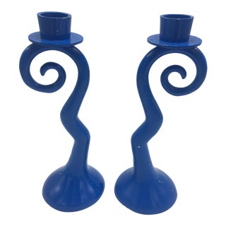 1960s Vintage Blue Candle Holders - a Pair For Sale