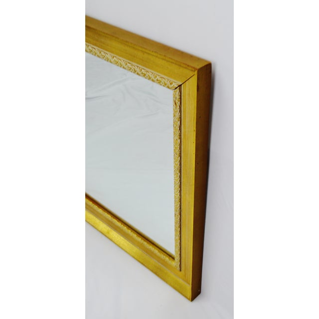 Glass Vintage Gold and White Striated Paint Framed Mirror For Sale - Image 7 of 10