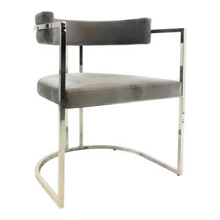Worlds Away Modern Gray Velvet and Nickel Barrel Back Mona Chair For Sale
