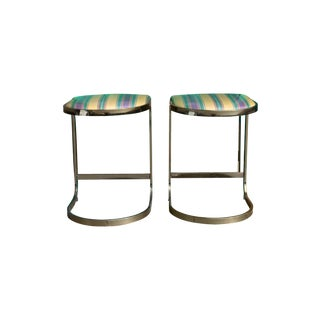 Vintage Milo Baughman Bar Stools - A Pair For Sale