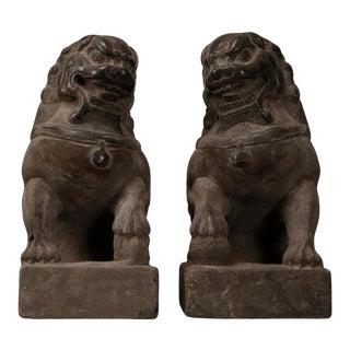 Bluestone MenDun Lion Statues - a Pair For Sale