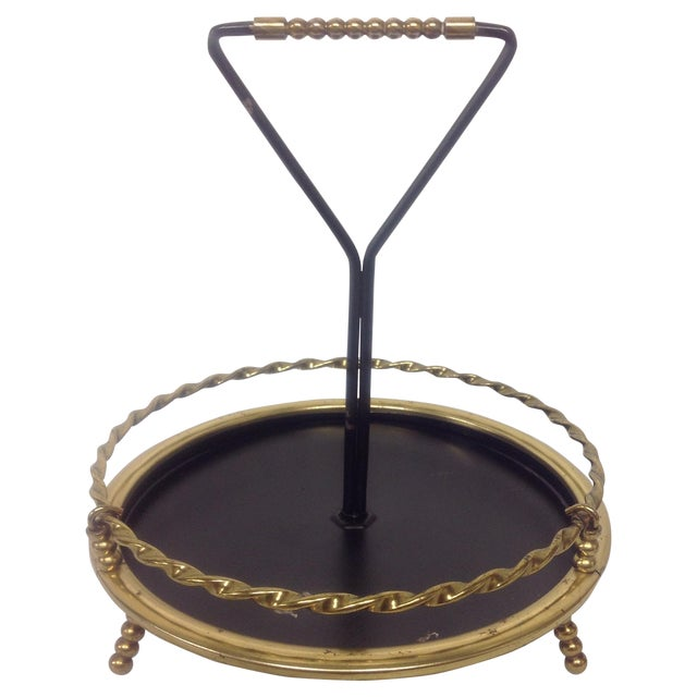 MidCentury Brass & Black Lacquer Catch All Dish For Sale
