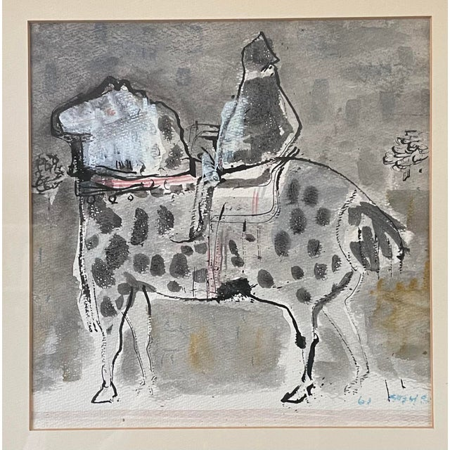 Vintage Framed Birney Quick Gouache on Paper Signed Mid Century Modern Painting of a Man on a Horse. Photographed in low...