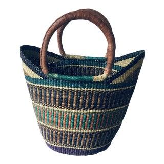 Bolga Ghana Blue Earth Tone Yikene Woven Basket For Sale