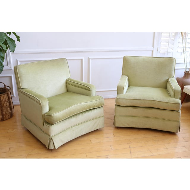 Mid-Century Modern Green Velvet Club Chairs - A Pair - Image 3 of 9