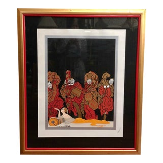 """Art Deco """"Opium and Mahjongg"""" Serigraph by Erte' Signed 131/300 Framed For Sale"""