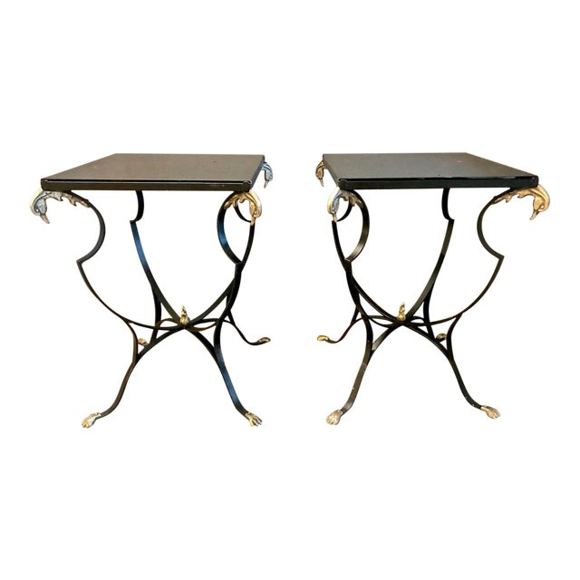 20th Century Art Deco Forged Iron & Brass Side Tables - a Pair For Sale
