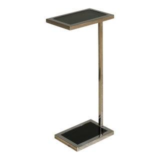 Sarreid Ltd. Steiger Stainless Steel Glass Top Side Table For Sale