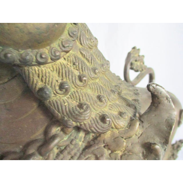 Bronze Antique Nepalese Bronze Buddhist Lions - a Pair For Sale - Image 8 of 13