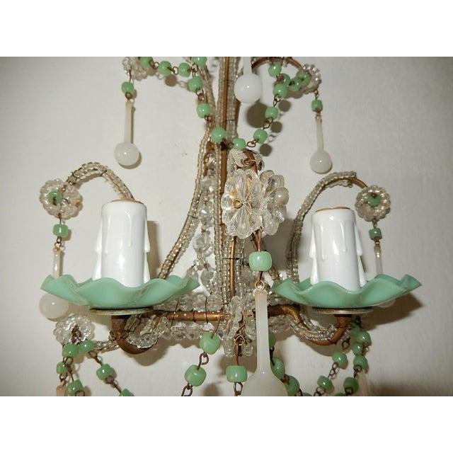 French Rare Sea Foam Green Opaline Sconces, circa 1920 For Sale - Image 6 of 12