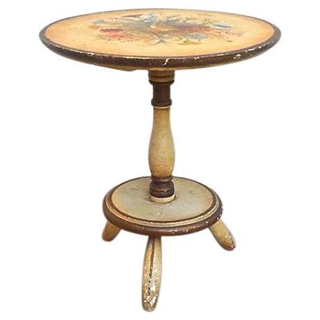 Vintage Italian Hand-Painted Floral Footstool - Image 1 of 5