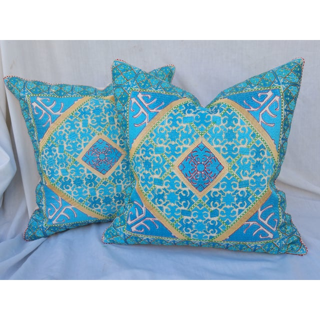 Vibrant Silk Embroidered Pillow - Pair - Image 2 of 5
