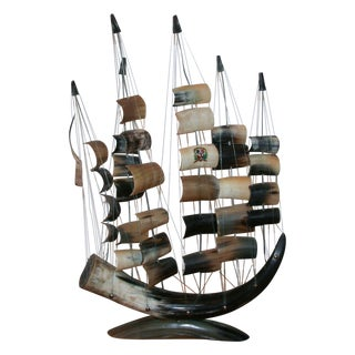 Vintage Bull Horn Ship Model For Sale